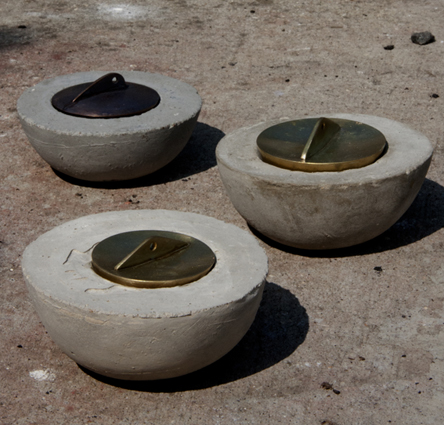 Small Cast Cement Bowls with Brass and Gilding Metal Plug/ Lid